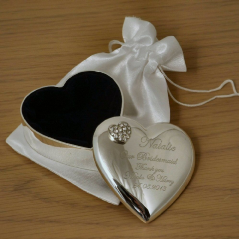 Heart Trinket Box with Crystal Heart Personalised Bridesmaid Gift